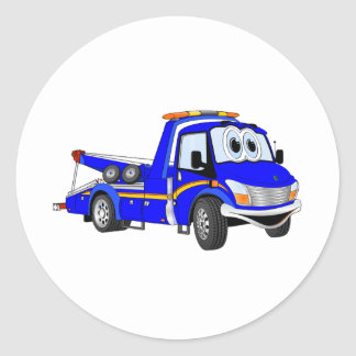 Blue Cartoon Tow Truck Classic Round Sticker