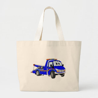 Blue Cartoon Tow Truck Large Tote Bag