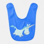 Blue Cartoon Unicorn Baby Bib