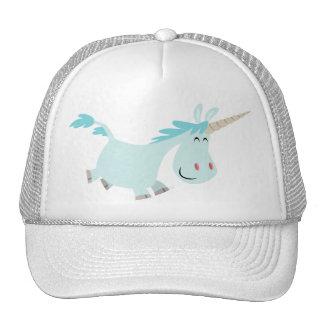 Blue Cartoon Unicorn  trucker cap Mesh Hats