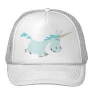 Blue Cartoon Unicorn  trucker cap Trucker Hat