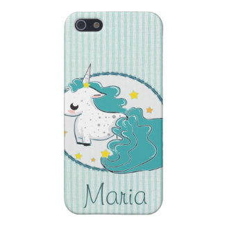 Blue cartoon unicorn with stars iPhone 4 Cases For iPhone 5