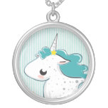 Blue cartoon unicorn with stars Necklace