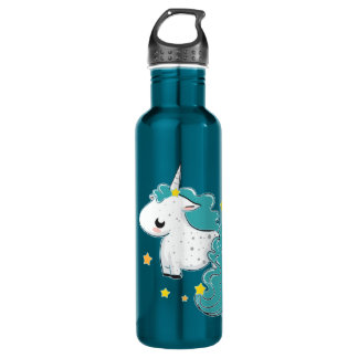 Blue cartoon unicorn with stars stainless steel water bottle