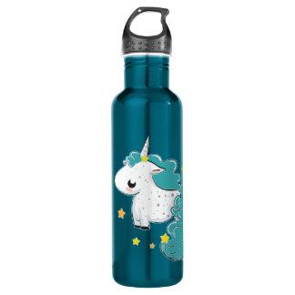 Blue cartoon unicorn with stars stainless steel water bottle
