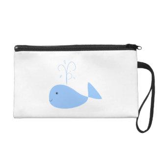 Blue Cartoon Whale Wristlet Clutch