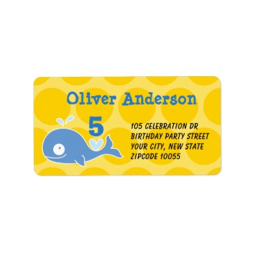 Beach Themed Blue Cartoon Whale Kid's Birthday Address Labels