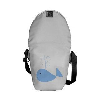 Blue Cartoon Whale Courier Bag