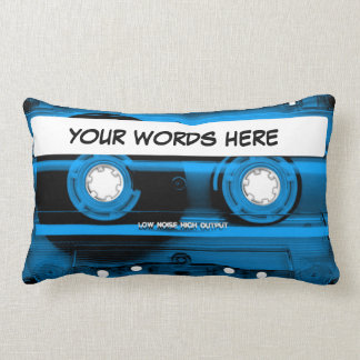 Blue Cassette Tape Personalized Throw Pillow