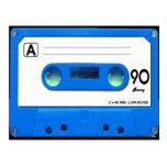 Blue Cassette Tape Postcard