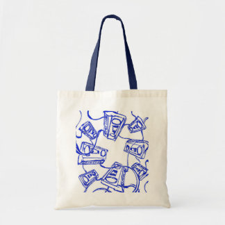 "Blue ""Cassette Tape Unwound"" By Levi G. Tote Bags"