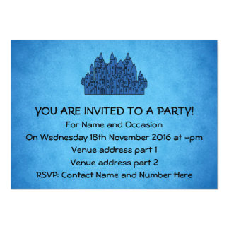 Blue Castle. 4.5x6.25 Paper Invitation Card