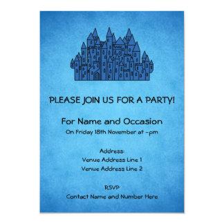 Blue Castle. 5x7 Paper Invitation Card