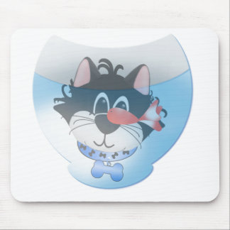 Blue Cat and Fishbowl tshirts and Gifts Mouse Pad