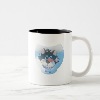 Blue Cat and Fishbowl tshirts and Gifts Two-Tone Coffee Mug