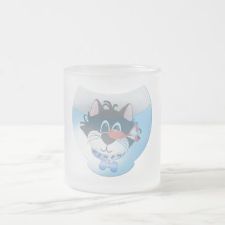 Blue Cat and Fishbowl tshirts and Gifts 10 Oz Frosted Glass Coffee Mug