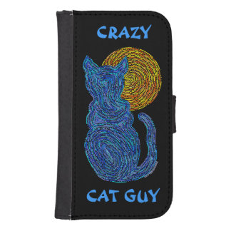 Blue Cat And Moon Crazy Cat Guy Custom Cat Lover Phone Wallet Case