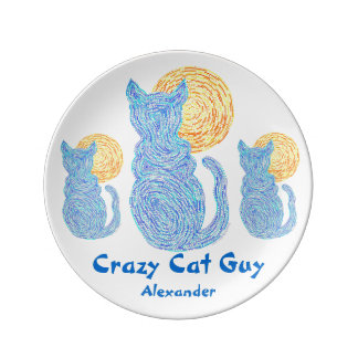 Blue Cat And Moon Crazy Cat Guy Decorative Plate