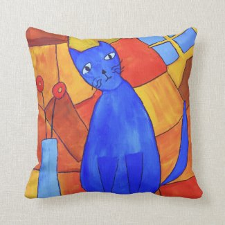 Blue Cat And Red Poppies Painting Throw Pillow