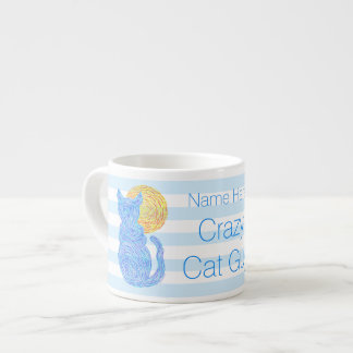 Blue Cat And The Moon Cat Lover Crazy Cat Guy Espresso Cup