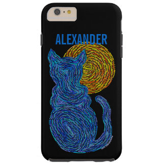 Blue Cat And The Moon Cat Lover Feline Kitten Tough iPhone 6 Plus Case