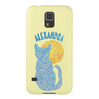 Blue Cat And The Moon Cat Lover Feline Kitten Galaxy S5 Cover