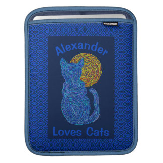 Blue Cat And The Moon Cat Lover Feline Kitten Sleeve For iPads