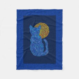 Blue Cat And The Moon Cat Lover Feline Kitten Fleece Blanket