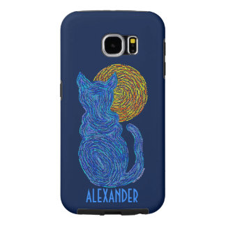 Blue Cat And The Moon Cat Lover Feline Kitten Samsung Galaxy S6 Cases