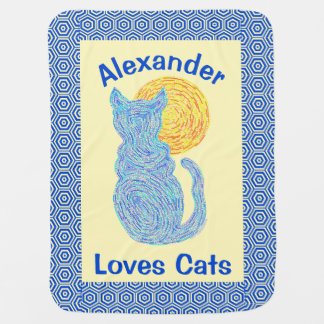 Blue Cat And The Moon Cat Lover Feline Kitten Swaddle Blankets