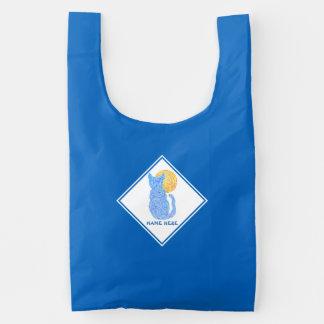 Blue Cat And The Moon Cat Lover Kitten Feline Reusable Bag