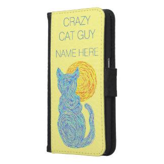 Blue Cat And The Moon Cat Lover Kitten Feline Samsung Galaxy S6 Wallet Case