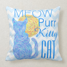 Blue Cat And The Moon Cat Lover Meow Purr Throw Pillows