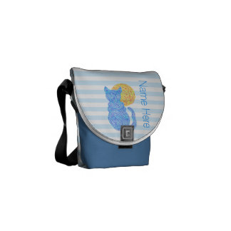 Blue Cat And The Moon Cat Lover Personalized Courier Bags