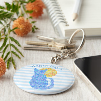 Blue Cat And The Moon Cat Lover Personalized Keychain