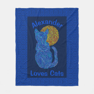 Blue Cat And The Moon Cat Lover Personalized Fleece Blanket
