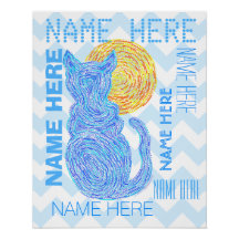 Blue Cat And The Moon Cat Lover Personalized Poster