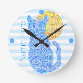 Blue Cat And The Moon Cat Lover Personalized Round Clock