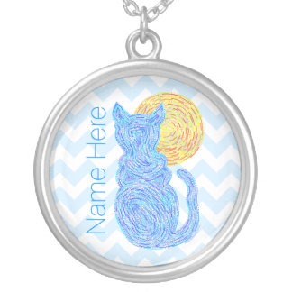Blue Cat And The Moon Cat Lover Personalized Silver Plated Necklace