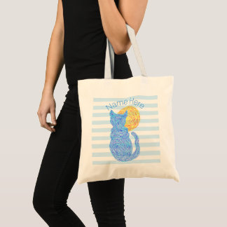 Blue Cat And The Moon Cat Lover Personalized Tote Bag