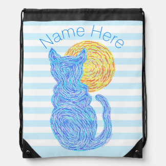 Blue Cat And The Moon Cat Lover Stripes Drawstring Bag