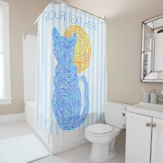 Blue Cat And The Moon Cat Lover Stripes Pattern Shower Curtain