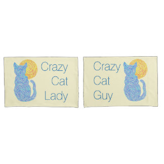 Blue Cat And The Moon Crazy Cat Lover Pillowcase