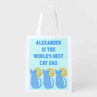 Blue Cat And The Moon Personalized Best Cat Dad Market Totes