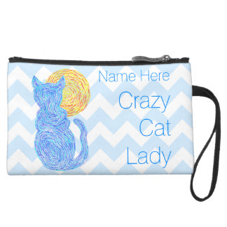 Blue Cat And The Moon Personalized Crazy Cat Lady Suede Wristlet