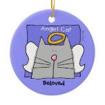 Blue Cat Angel Personalize Ceramic Ornament