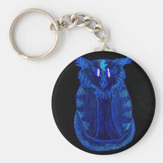 Blue Cat Basic Round Button Keychain
