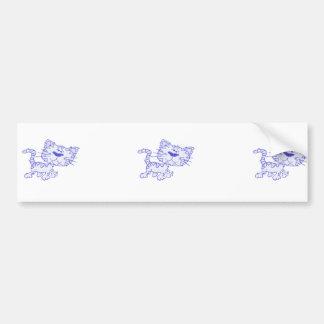 Blue cat bumper sticker