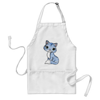 Blue Cat Cartoon Adult Apron