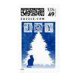 Blue Cat Christmas Postage Stamp
